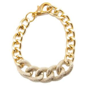 Polished & Textured 18K Gold Chain Bracelet